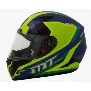 CASCO MT MUGELLO AZUL AMARILLO VERDE BRILLANTE