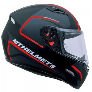 CASCO MT MUGUELLO NEGRO ROJO BRILLO