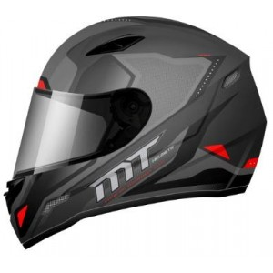 CASCO MT MUGELLO NEGRO GUNMETAL ROJO BRILLO